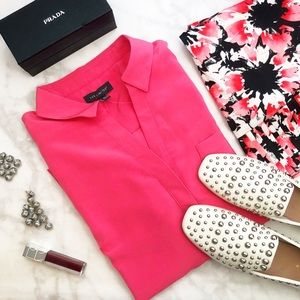 Bright Pink Button Down Blouse